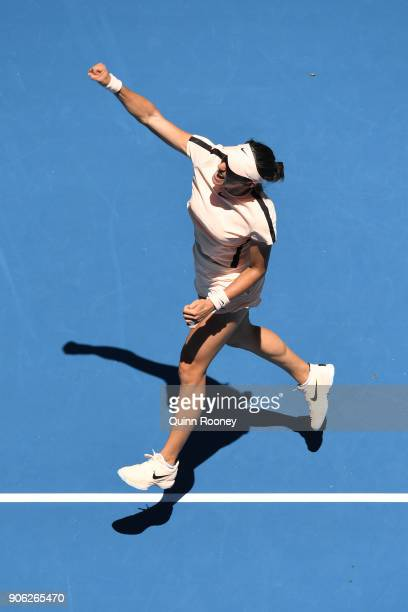 Caroline Garcia of France celebrates winning match point in her second round match against Marketa Vondrousova of the Czech Republic on day four of...