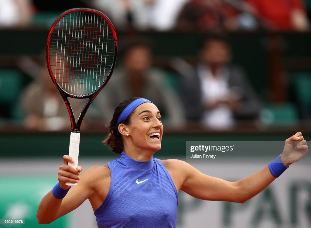 Caroline Garcia of France clebrates victory during ladies singles fourth round match against Alize Cornet of France on day nine of the 2017 French Open at Roland Garros on June 5, 2017 in Paris, France.