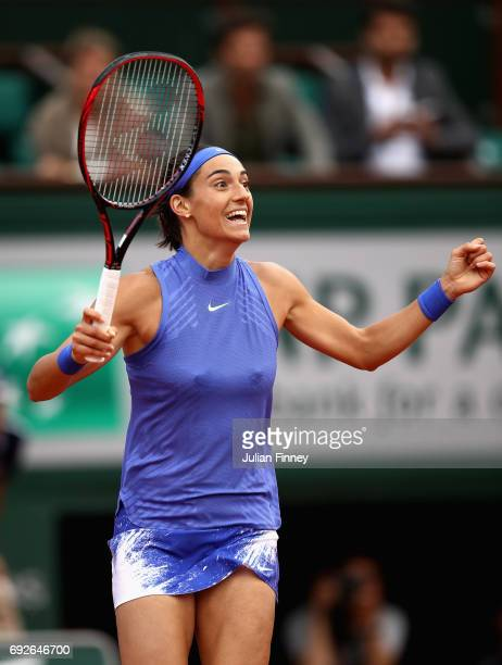 Caroline Garcia of France clebrates victory during ladies singles fourth round match against Alize Cornet of France on day nine of the 2017 French...
