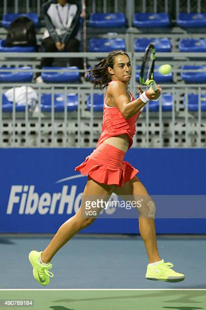 Caroline Garcia of France competes against Monica Niculescu and IrinaCamelia Begu of Romania in Women's Doubles match with Katarina Srebotnik of...