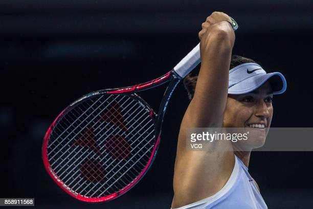 Caroline Garcia of France competes during the Women's singles final match against Simona Halep of Romania on day nine of 2017 China Open at the China...