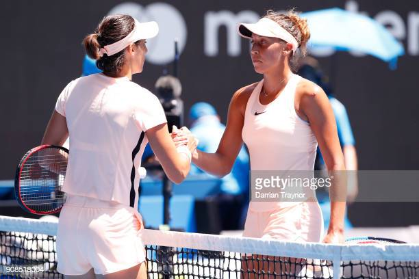 Caroline Garcia of France congratulates Madison Keys of the United States after Keys won their fourth round match against on day eight of the 2018...
