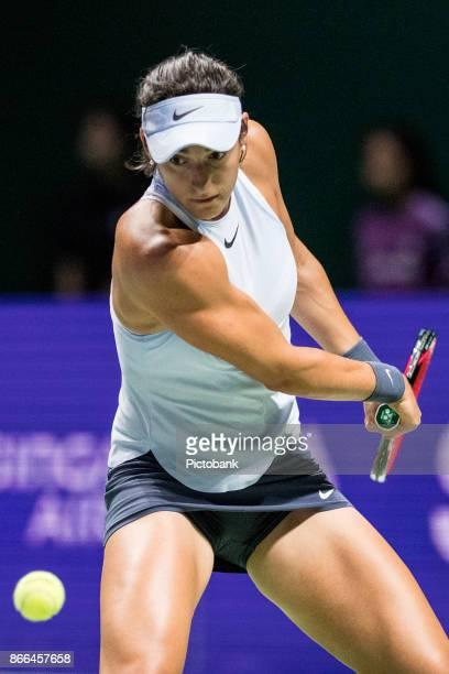 Caroline Garcia of France during her match against Elina Svitolina of Ukraine during the BNP Paribas WTA Finals Singapore at the Singapore Indoor...