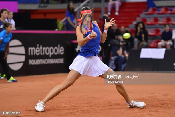 Caroline Garcia of France during the Fed Cup semifinal between France and Romania on April 21 2019 in Rouen France