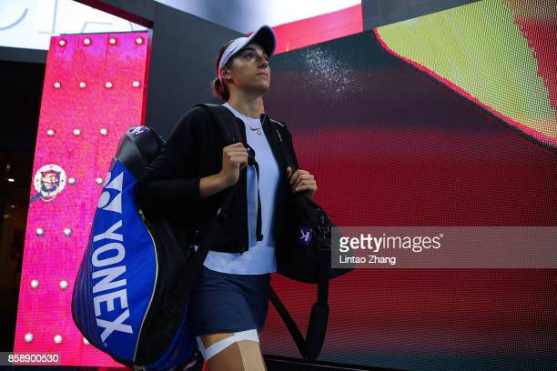 Caroline Garcia of France enters the tennis court during the Womens's Singles final match against Simona Halep of Romania on day nine of the 2017...