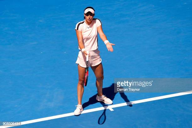 Caroline Garcia of France gestures towards her player's box in her fourth round match against Madison Keys of the United States on day eight of the...