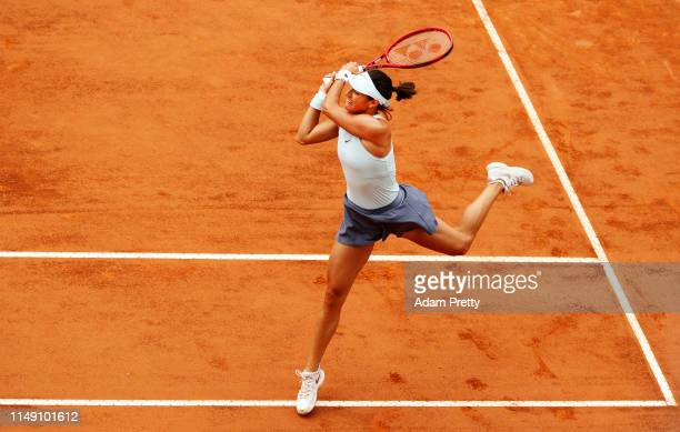 Caroline Garcia of France hits a forehand to Kristina Mladenovic of France during their first round match during day three of the International BNL...
