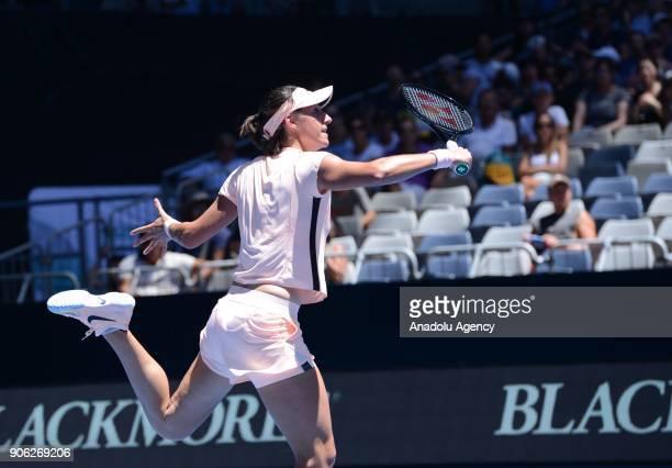 Caroline Garcia of France in action against Marketa Vondrousova of Czech Republic during Women's single match of 2018 Australian Open at Melbourne...
