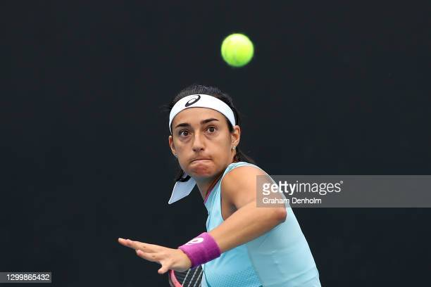 Caroline Garcia of France in action during her match against Timea Babos of Hungary during day three of the WTA 500 Gippsland Trophy at Melbourne...