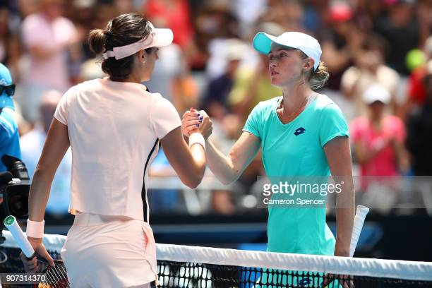 Caroline Garcia of France is congratulated by Aliaksandra Sasnovich of Belarus in their third round match on day six of the 2018 Australian Open at...