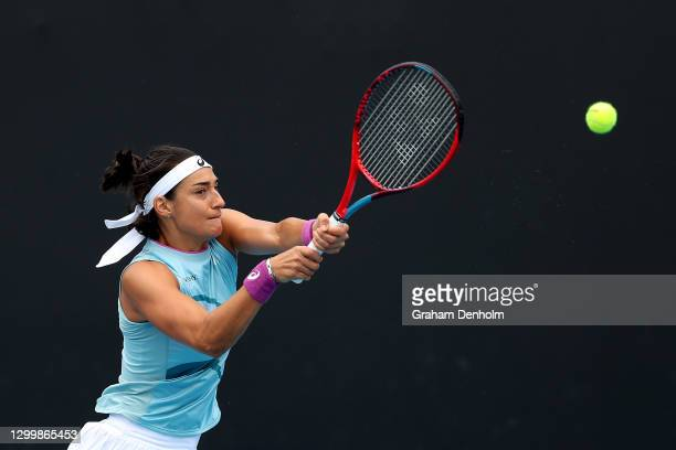 Caroline Garcia of France plays a backhand during her match against Timea Babos of Hungary during day three of the WTA 500 Gippsland Trophy at...