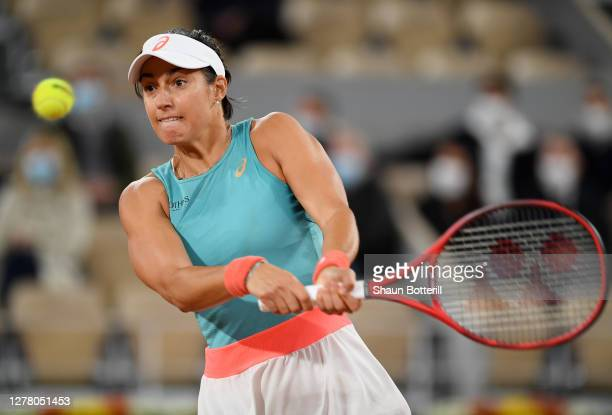 Caroline Garcia of France plays a backhand during her Women's Singles third round match against Elise Mertens of Belgium on day six of the 2020...