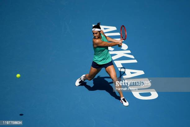 Caroline Garcia of France plays a backhand in her first round match against Taylor Townsend of USA during day one of the 2020 ASB Classic at ASB...