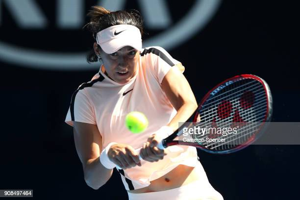 Caroline Garcia of France plays a backhand in her fourth round match against Madison Keys of the United States on day eight of the 2018 Australian...