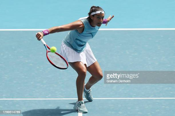 Caroline Garcia of France plays a backhand in her match against Arina Rodionova of Australia during day one of the WTA 500 Gippsland Trophy at...