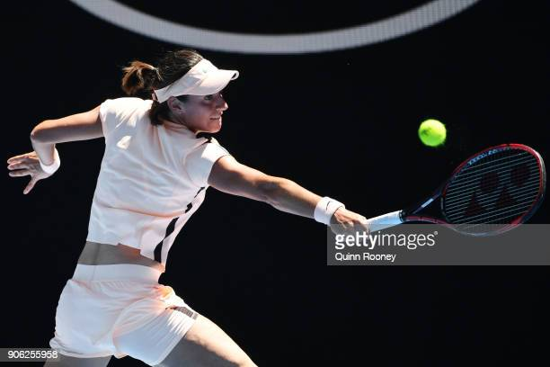 Caroline Garcia of France plays a backhand in her second round match against Marketa Vondrousova of the Czech Republic on day four of the 2018...