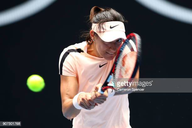 Caroline Garcia of France plays a backhand in her third round match against Aliaksandra Sasnovich of Belarus on day six of the 2018 Australian Open...