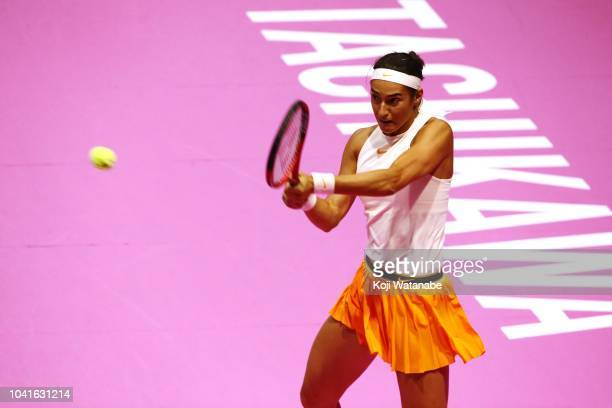 Caroline Garcia of France plays a backhand in the Singles quarter final against Donna Vekic of Croatia on day five of the Toray Pan Pacific Open at...