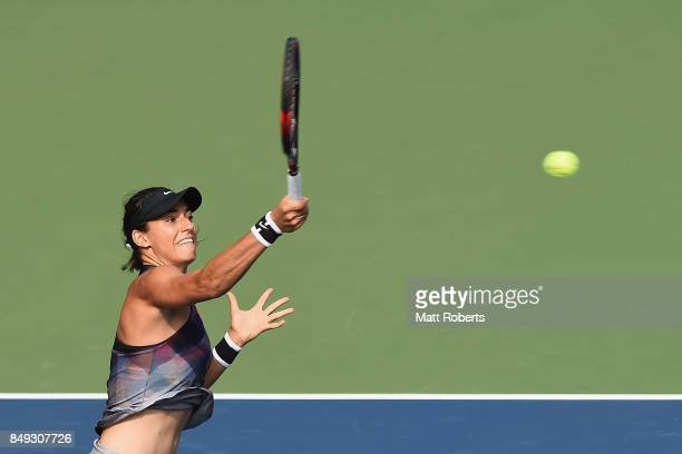 Caroline Garcia of France plays a forehand against Aliaksandra Sasnovich of Belarus during day two of the Toray Pan Pacific Open Tennis At Ariake...