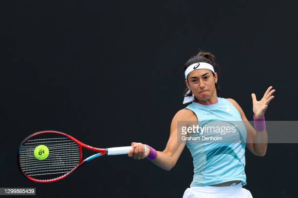 Caroline Garcia of France plays a forehand during her match against Timea Babos of Hungary during day three of the WTA 500 Gippsland Trophy at...