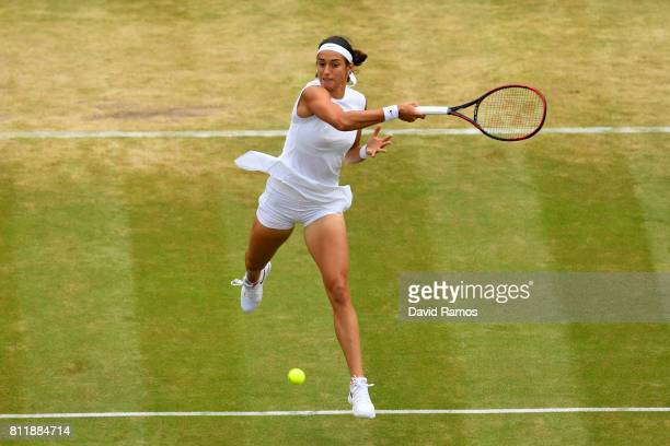 Caroline Garcia of France plays a forehand during the Ladies Singles fourth round match against Johanna Konta of Great Britain on day seven of the...