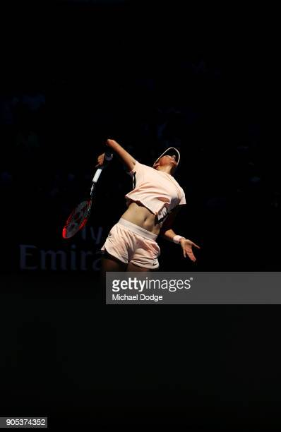 Caroline Garcia of France plays a forehand in her first round match against Carina Witthoeft of Germany on day two of the 2018 Australian Open at...