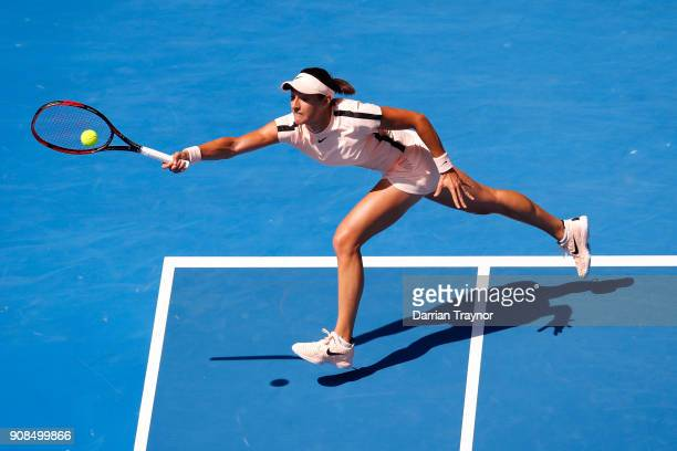 Caroline Garcia of France plays a forehand in her fourth round match against Madison Keys of the United States on day eight of the 2018 Australian...