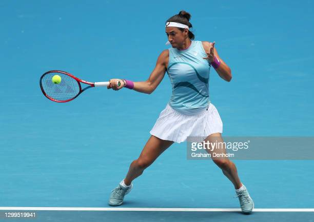Caroline Garcia of France plays a forehand in her match against Arina Rodionova of Australia during day one of the WTA 500 Gippsland Trophy at...