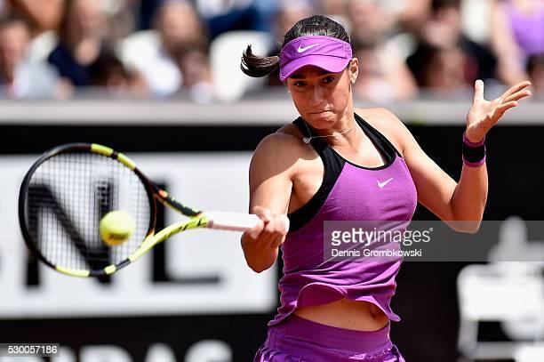 Caroline Garcia of France plays a forehand in her match against Svetlana Kuznetsova of Russia on Day Three of The Internazionali BNL d'Italia 2016 on...