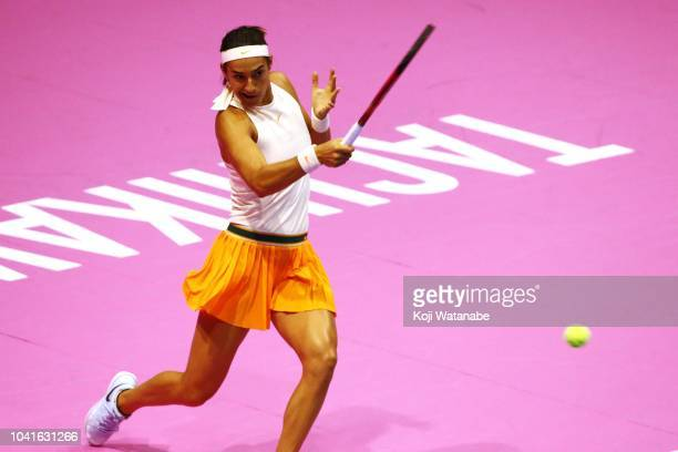 Caroline Garcia of France plays a forehand in the Singles quarter final against Donna Vekic of Croatia on day five of the Toray Pan Pacific Open at...