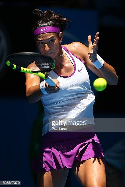 Caroline Garcia of France plays a forehand to Sabine Lisicki of Germany in the womens singles match during day four of the 2016 Hopman Cup at Perth...