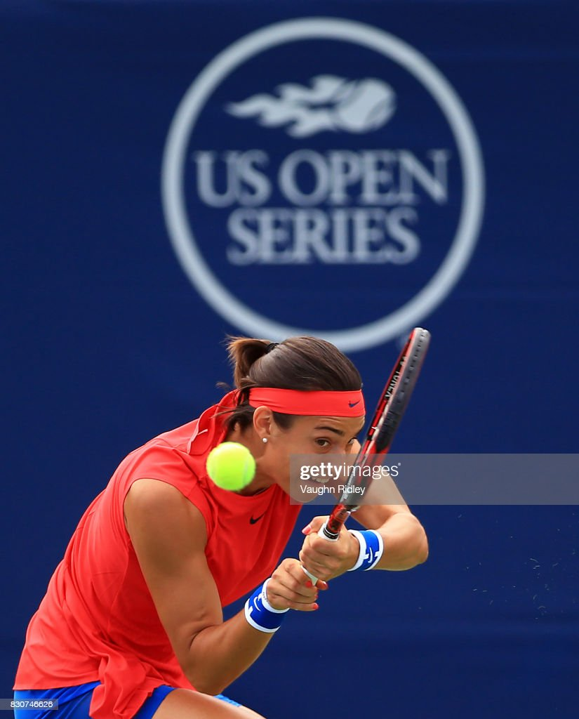 Caroline Garcia of France plays a shot against Simona Halep of Romania during a quarterfinal match on Day 8 of the Rogers Cup at Aviva Centre on August 12, 2017 in Toronto, Canada.