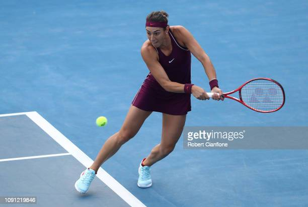 Caroline Garcia of France plays a shot against Sofia Kenin of the USA during day four of the 2019 Hobart International at Domain Tennis Centre on...