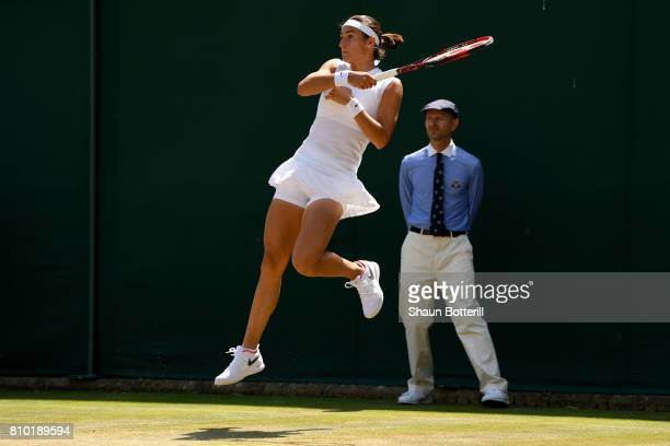 Caroline Garcia of France plays plays a forehand during the Ladies Singles third round match against Madison Brengle of The Unites States on day five...
