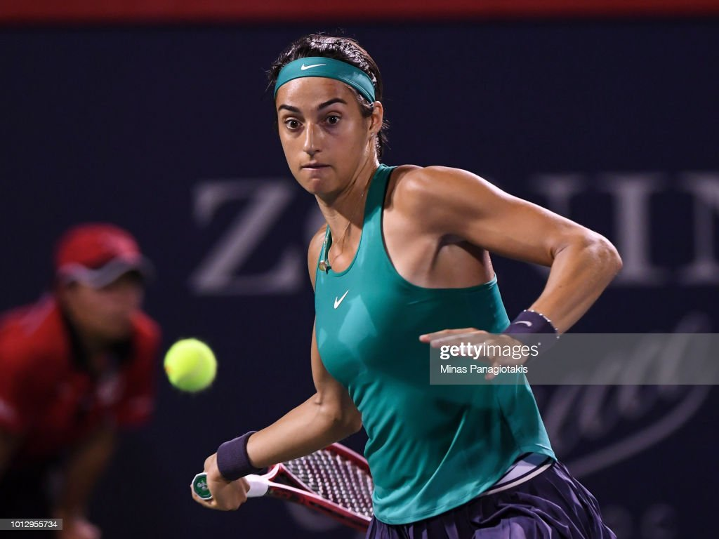 Caroline Garcia of France prepares to hit a return against Magdalena Rybarikova of Slovakia during day two of the Rogers Cup at IGA Stadium on August 7, 2018 in Montreal, Quebec, Canada.