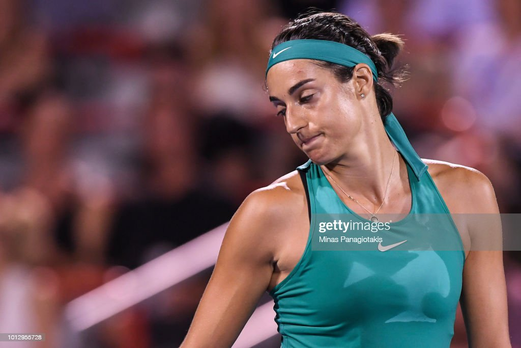 Caroline Garcia of France reacts after losing a point against Magdalena Rybarikova of Slovakia during day two of the Rogers Cup at IGA Stadium on August 7, 2018 in Montreal, Quebec, Canada.