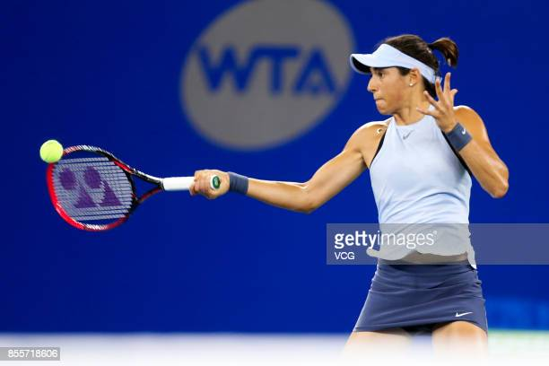 Caroline Garcia of France reacts against Maria Sakkari of Greece during the Women's singles semi final match on day 6 of 2017 Dongfeng Motor Wuhan...