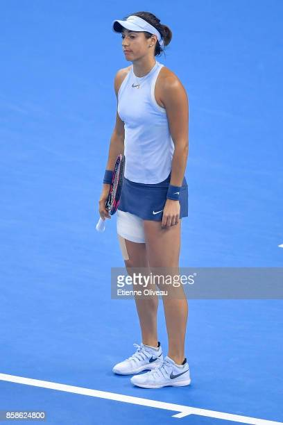 Caroline Garcia of France reacts during her Women's Singles Semifinal match against Petra Kvitova of the Czech Republic on day eight of 2017 China...