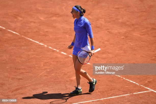 Caroline Garcia of France reacts during the women's singles quarterfinal match against Karolina Pliskova of Czech Republic on day eleven of the 2017...