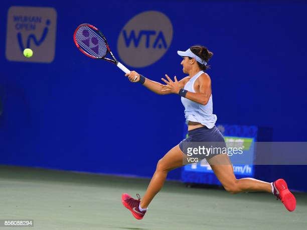 Caroline Garcia of France returns a shot during the ladies singles final against Ashleigh Barty of Australia on Day 7 of 2017 Dongfeng Motor Wuhan...