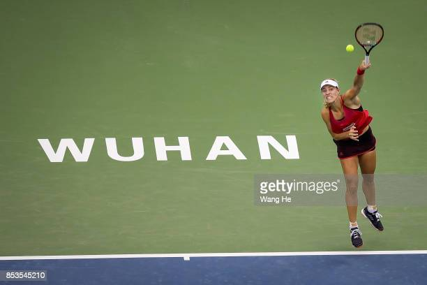 Caroline Garcia of France returns a shot during the match against Angelique Kerber of Germany on Day 2 of 2017 Dongfeng Motor Wuhan Open at Optics...