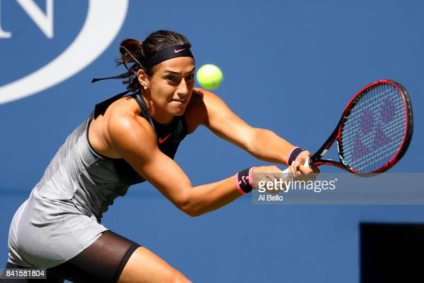 Caroline Garcia of France returns a shot to Petra Kvitova of the Czech Republic during their third round match on Day Five of the 2017 US Open at the...