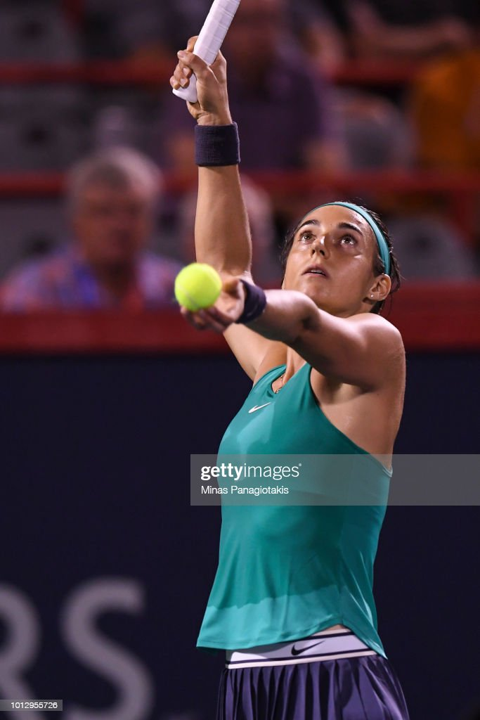 Caroline Garcia of France serves against Magdalena Rybarikova of Slovakia during day two of the Rogers Cup at IGA Stadium on August 7, 2018 in Montreal, Quebec, Canada.