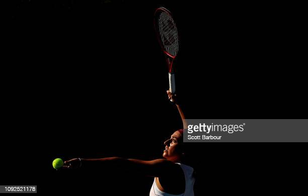 Caroline Garcia of France serves during a practice session ahead of the 2019 Australian Open at Melbourne Park on January 11 2019 in Melbourne...