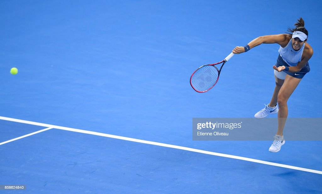Caroline Garcia of France serves during her Women's Singles Semifinal match against Petra Kvitova of the Czech Republic on day eight of 2017 China Open at the China National Tennis Centre on October 7, 2017 in Beijing, China.
