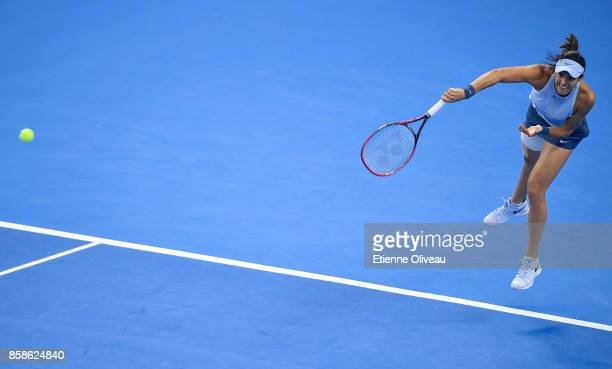 Caroline Garcia of France serves during her Women's Singles Semifinal match against Petra Kvitova of the Czech Republic on day eight of 2017 China...