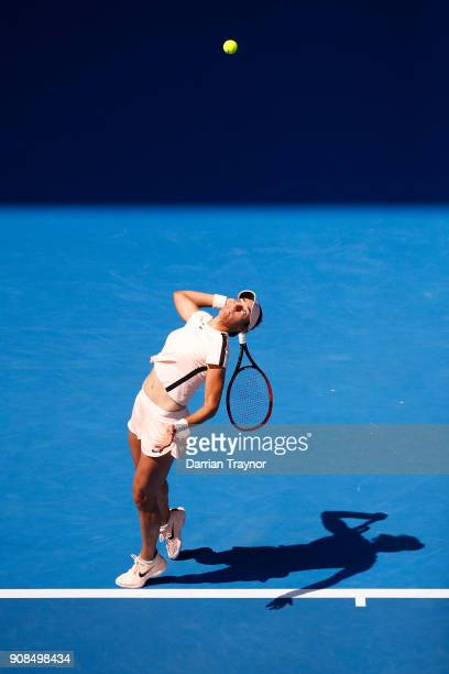Caroline Garcia of France serves in her fourth round match against Madison Keys of the United States on day eight of the 2018 Australian Open at...