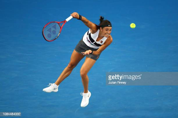 Caroline Garcia of France serves in her third round match against Danielle Collins of the United States during day five of the 2019 Australian Open...