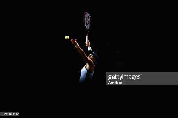 Caroline Garcia of France serves the ball to CoCo Vandeweghe of the United States during day 6 of the Porsche Tennis Grand Prix at Porsche-Arena on...