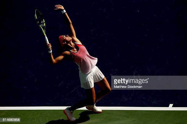 Caroline Garcia of France serves to Christina McHale during the BNP Paribas Open at the Indian Wells Tennis Garden on March 10, 2016 in Indian Wells,...